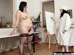 Gracie and Babeta are both horny milfs who end up all wet and full of paint. The fat chick masturbates with a vibrator and the other plays with her big boobs.