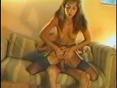 A horny vintage couple are playing dirty games in a homemade clip. The bitch shows her cock-sucking skills to the man and then they bang in cowgirl position.