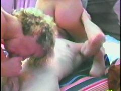 Lewd mature blonde plays lesbian games with pretty brown-haired girl. They finger and toy each other's pussies and then enjoy sucking and riding some man's prick.