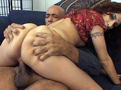 This filthy small breasted Indian bitch love to suck his man big cock while shes playing with her pussy. She gets hardcore fuck in doggy and cowgirl just to get his huge load in her mouth