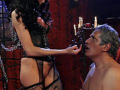 Long haired stunning mistress with big juicy boobs and awesome body in fishnet lingerie and long stripper boots gets wet shaved fish lips licked while dominating over cheating submissive husband.