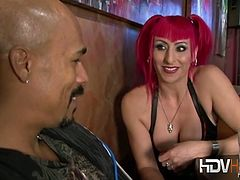 Raven Black and Morgan Ray pick up a black dude from a bar. They take care of his cock with their mouths and pussies.