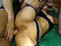 Sexy beauty enjoys rough gang bang that slams her tight holes and fills her mouth