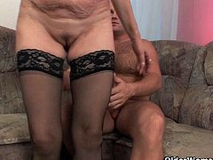 Edith is a horny blonde grandma and she got stockings fetish. Watch her deepthroating his big dong and begging him to stick it deep into her psusy for a huge facial.