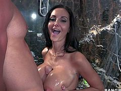 Black haired one and only Ava Addams with delicious round ass and big juicy gazongas gets naughty under shower and gives memorable titjob to her muscled lover with big smile.