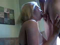 Young pretty blonde hottie Lia Lor with natural boobs and beautiful eyes makes out with tall handsome dude and gets tight sweet pussy all over bathroom in awesome fantasy.