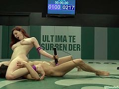 Big-breasted nude lesbians Iona Grace and Beretta James are having a struggle on tatami. The cuties beat each other and then the winner fingers the loser's pussy and fucks it hard with a strapon.