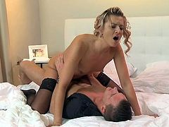 Stunning blonde MILF seduces her student. She sucks his dick and licks balls. After that she gets fucked and also facialed.