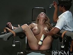 BDSM brings you an amazing free porn video where a sensual blonde slave gets dildoed by a horny ebony domme til she cums while assuming some very interesting poses.
