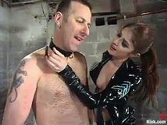 Pretty girl ties the guy up and whips him painfully. After that she fixes claws to his nipples and toys the ass from behind.