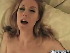 Seductive blonde GF with big boobs gives deepthroat blowjob. She then strokes meaty cock intensively until her BF shoots fat ass tit cumshot.