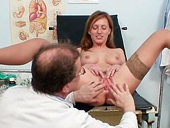 Sweet and insolent chick likes having her gyno exam along this needy hunk