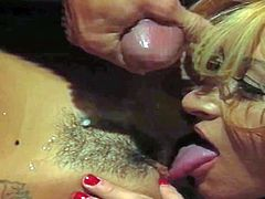 Cum loving blonde whore Missy with red nails and cute face licks her tanned smoking hot girlfriend while randy dude is spraying them with load of cum in close up.