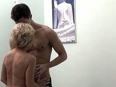 See the slutty blonde milf Jane Bond getting her clam munched and fingered by a young stud.