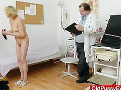 This blonde grandma with tiny tits has her measurements takes by her gynecologist. Then, he performs a fanny checkup that involves the use of a metal speculum.