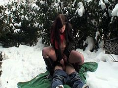 Young amateur couple is taking walk in the park. Cold weather and snow can't stop this hottie to get her tight pussy stretched like never before. She got nailed hard.