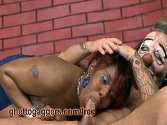 Horny ebony from the hood shows of her amazing titties and immediately starts to deepthroat his big white dong. She likes to take it ballsdeep like a real slut.