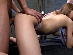 Adorable tight Japanese lady Miku Kohinata lets two kinky guys lick her hairy pussy and fuck her doggystyle. Cutie rides her mates on top and sucks dick from time to time.