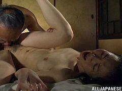 Have fun jerking off to this hot scene where this horny Asian milf gets eaten out by this guy before being nailed.