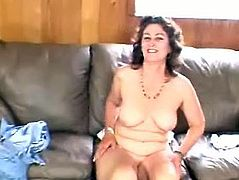 This mature slut first talking about how much she loves sex and they she start wanking her devastated cunt roughly until he cums.
