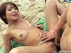 Make sure you have a look at this hot scene where the sexy Asian babe Yuuki Natsume is fucked hard by a guy on the beach.