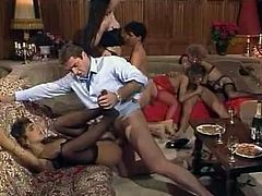 Check out how ten vintage hotties in stockings and lingerie get fucked by multiple guys. One brunette babe gets her holes double penetrated by two well hung studs.