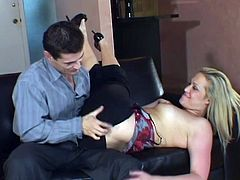 Gorgeous blonde in a wild hardcore threesome. Watch her getting face-fucked and fucked hard from both sides until they cum inside her.