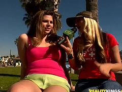 Have fun busting a nut with this hot scene where these two horny babes have eat one another in a hot lesbian moment for money.