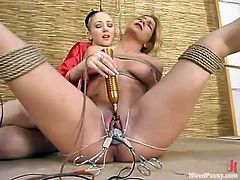 Blonde Jenni Lee Being Dominated and Toyed Crazily in Lesbian BDSM