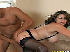 Gorgeous Latina Selena Castro favours her man with a terrific blowjob and titjob combo. Then they fuck doggy style and Selena's fabulous natural tits bounce back and forth.