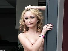 Blonde Nataly Von bares it all in a playful manner and then masturbates anally