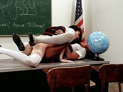Slender cute black haired schoolgirls Ami Miley and Aiden Ashley with natural perky boobs and long legs in short skirts and white shirts have memorable scorching fantasy in classroom.