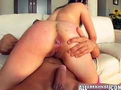 You won't believe this! A steamy brunette, with big natural breasts wearing fuchsia fishnet stockings, goes crazy playing with toys and with a huge cock!