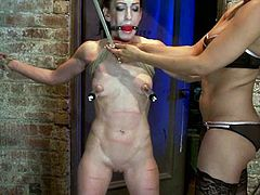 The skinny gal Elise Graves will work as a sex slave for Isis Love who will tie her up, use ropes to dominate her and play with her nipples.