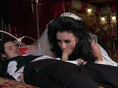 Sexy brunette bride gets her slick pussy licked and finger fucked wearing wedding dress. Fresh out the oven husband gives her awesome lube job. He also finger fucks her peach so she moans seductively. Later on she gives him head.