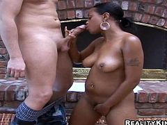 Beautiful ebony chick Olivia Winters shows her nice ass to some guy and pleases him with a blowjob. Then they fuck in reverse cowgirl position and doggy style and enjoy it much.