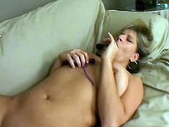 Chubby milf and a skinny blonde slam each other's cunts with dildos