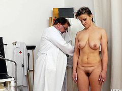 Bitch Tonca paid her doc a visit for a medical examination. The old, perverted doc measure her and then took a look at her pussy. He slide his fingers inside her cunt and stretched it. Let's see if the doc will stretch her pussy some more, this time with his cock!
