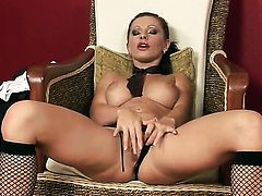 Nikki Rider finds herself horny as hell and takes toy in her slit with wild desire