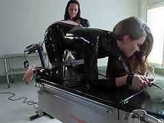 There's lots of latex fetish for you to see and enjoy, plus lesbian BDSM, nipple torture and fucking machine action.