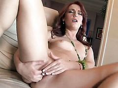 Dani Jensen with small boobs and hairless beaver satisfies herself in solo action