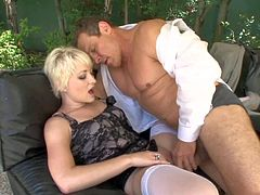 Short haired blonde slut Nora Skyy with natural tits in white stockings and corset gets licked by Jay Huntington in backyard and fucks with him all over the house.