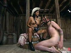 What a slutty and smoking hot siren Mika Tan is! She lures this dude in the barn and ties him up to humiliate him! So fucking wild!