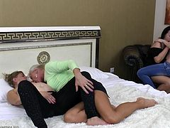 Maxima is young and pretty and she's about to be violated by three lesbians who are much older than she is. They undress her and slowly takes of her jeans so one of them can eat out her young pussy. She puts her lips on the lips of the old ladies and has her boobs licked