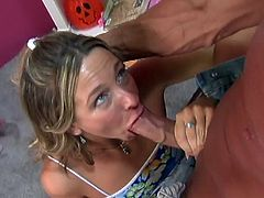 Amazing fucking of a horny girl ends with a facial