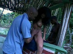 Livia is a curvy beauty that needs more then just one hard cock to be satisfied. These black guys give her their bbc's after licking her bald snatch. Livia is turned on by them and happily kneels in front of the hunks to grab and suck their big dicks. Look at her sucking them hard to receive their loads on her boobs