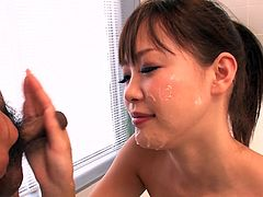 Three guys fucks her face and splatter her lips with cumshots. Enjoy watching bukkake sex tube video produced by Jav HD porn site.
