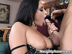 Claudia Valentine with giant boobs and bald cunt is in heaven fucking with hard cocked fuck buddy Seth Gamble