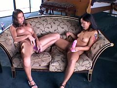 Finess Navaro, Kelly Klein and Sindee Coxx are amazing lesbians. They lick each others nice boobs and then toy themselves with huge dildos.