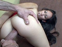 Slim and hot girl takes the clothes off in a bedroom and gives a blowjob. After that she gets fucked in both holes by big cocked guy. In the end she also gets facialed.